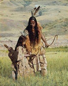 Amérindiens - Père et fils , tir à l'arc