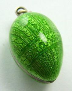 Edwardian Silver & Green Guilloche Enamel Egg Charm  Sandys Vintage Charms