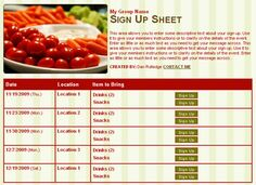 snack sign up sheet template