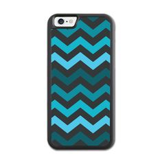Blue And Dark Chevron Pattern iPhone 6 Rubber Case (4.7 Inch) Black... ($22) ❤ liked on Polyvore featuring accessories and tech accessories