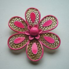 Vintage Pink Enamel Gold Flower Brooch Pin by TwilightVintageShop