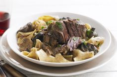 Short ribs become succulent in the slow cooker for a simple stroganoff full of complex flavour. Smoked paprika adds depth to a velvety sour cream sauce.
