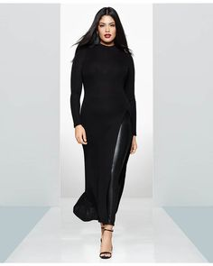 b96ef1bb164 Gotta Have It  This Maxi Sweater with Thigh High Split by Rachel Rachel Roy  · Trendy Plus Size ...