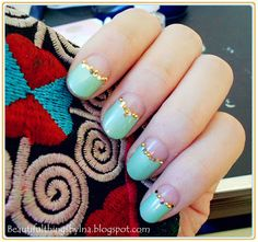 turquoise reversed french nails