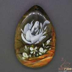 Unique Pendant For Necklace Hand Painted Flower Natural Gemstone   ZL805373 #ZL #Pendant