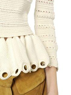 Unusual ripple stitch peplum border! Alexander McQueen - Eyelet Knit Sweater - LUISAVIAROMA