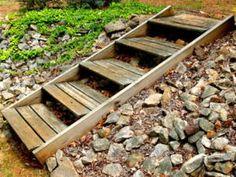 Wooden grade stair