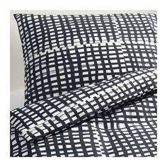 Ikea BJÖRNLOKA RUTA Queen / Full Size Twin Size Duvet Cover Set Black /White NIP #IKEA #Contemporary