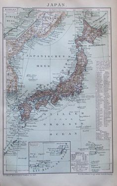 JAPAN 1894 historische alte Landkarte antik antique map Lithografie