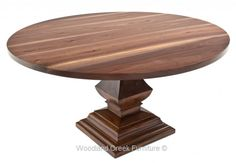 Round Solid Wood Table by Woodland Creek Furniture in Custom Made Sizes.