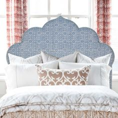 Great shape and gorgeous fabrics for a stunning bedhead.