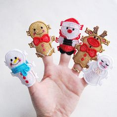 FSL Christmas Finger Puppets Free Standing Lace Machine Embroidery Designs Instant Download 4x4 5x7 hoop 5 designs APE2090