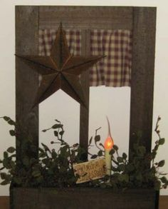 Prim Style Wooden Window Box...with checked curtain, rusty star, & taper.