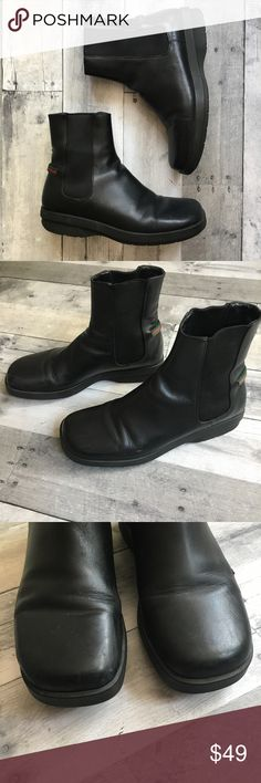 Gucci Black Leather Ankle Boots These are a reposh. I spent last winter lying to myself that they fit me, but my feet are really too wide for them. They fit like a 7.5 Narrow. They are very comfortable boots for someone with the right size foot. They have evidence of wear and a scratch on the side of one shoe. Also one of the fabric loops that help you slip the boot on is detached. I've tried to show all this in the pictures. This is a great chance to own Gucci boots for a great price! Gucci…