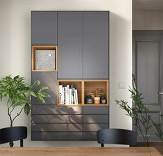 The outside doesn't have to dictate the inside. On the contrary, you can have a calm and streamlined exterior with these new VOXTORP fronts with integrated handles in dark grey and create endless combinations of highly organized storage on the inside. Home Office Storage, Home Office Design, Home Office Decor, House Design, Home Decor, Home Living Room, Living Room Designs, Flur Design, Muebles Living
