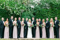 Black Tuxes + Dusty Rose Bridesmaid Dresses | Romantic Fall Wedding at Middleton Place by Charleston wedding photographer Dana Cubbage