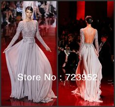 2013 Fall New Elie Saab Beadings Chiffon Backless Long Sleeve Evening Dress $159.00