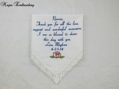WEDDING GIFTS for GRANDMA Embroidered Wedding Handkerchiefs by Napa Embroidery on Etsy, $24.95