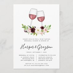 Wedding Wine Glasses, Red Wine Glasses, Rehearsal Dinner Invitations, Rehearsal Dinners, Colored Envelopes, White Envelopes, Custom Invitations, Wedding Invitations, Floral Invitation