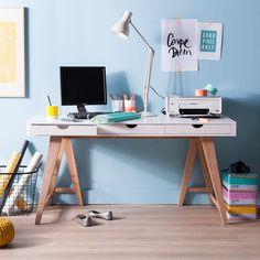 Bureau en bois avec 3 tiroirs Longueur 150cm Hauteur 76cm PABLO kaligrafik