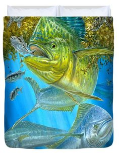 Mahi Mahi Hunting In Sargassum Duvet Cover by Terry  Fox