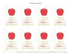 free back to school party favor tags