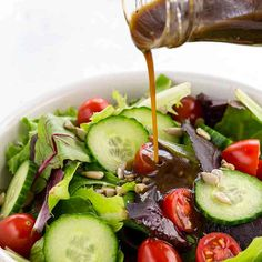 (Watch video) Skip store-bought dressing and make this classic balsamic vinaigrette in minutes! The combination of tangy balsamic vinegar, olive oil, shallots and a touch of dijon mustard creates a flavorful dressing to make any salad more exciting. Salad Recipes Video, Sauce Recipes, Cooking Recipes, Healthy Recipes, Vinaigrette Dressing, Salad Dressing Recipes, Ranch Dressing, Dinner Salads, Soup And Salad