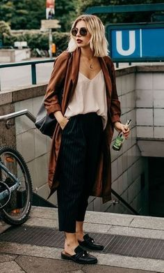 casual outfit idea / bag + cardigan + silk top + loafers + striped pants