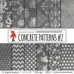 "New to SandraGraphicDesign on Etsy: Grey digital paper: ""CONCRETE PATTERNS"" with pretty patterns on concrete texture in grey and white (1089) (3.75 USD)"