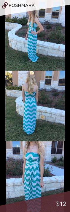 Full-length chevron dress Full length, Strapless, greenish/blue chevron (the top part stretches) vanilla bay Dresses Strapless
