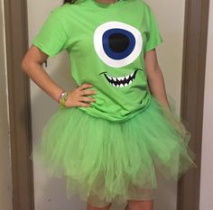 Halloween Costume Shirt, Mike Wasouski, Monsters Inc, Green Eyed Monster…
