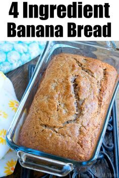 This 4 ingredient banana bread using cake mix is a great breakfast, dessert or snack! A quick banana bread recipe using overripe bananas we love. This 4 ingredient banana bread using cake mix is a great breakfast, dessert or snack! A quick banana bread Quick Banana Bread, Cake Mix Banana Bread, Banana Recipes Easy, Easy Bread Recipes, Banana Bread No Eggs, Cake Mix Muffins, Banana Bread Recipe Made With Cake Mix, Quick Bread, Banana Bread With 2 Bananas