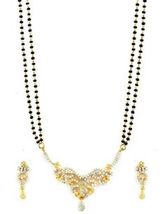 AD CZ Mangal Sutra with Chain in two tone finish - MS10462CL