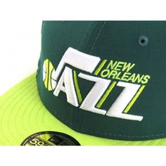 1bc67d09693be8 New Orleans Jazz New Era Fitted hat custom made with a green crown and a  lime green brim.
