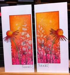 Jo Firth-Young The colours were really quite vivid - Wild Honey Picked Raspberry Distress Ink (with a touch of Barn Door). Beautiful Handmade Cards, Copics, Watercolor Cards, Distress Ink, Card Tags, Flower Cards, Diy Cards, Handmade Christmas, Making Ideas