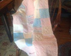 Throw quilt handmade from repurposed wool by JoAnnsREstore on Etsy