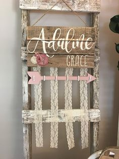 bow holder baby bows baby nursery sign name sign rustic