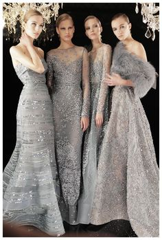 Dreamy winter holiday inspiration with sparkling silver evening gowns. | Click to shop evening dresses on ShopStyle.