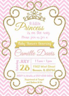 Oro y rosa princesa bebé ducha invitación chispa Chevron
