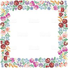 Colorful square frame made from Hungarian embroidery pattern royalty-free stock vector art