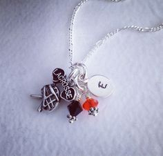 Sporty Girl Lacrosse Personalized Hand Stamped Initial Swarovski Necklace-Any Color Crystal Available on Etsy, $20.00