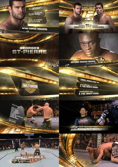 Seton Kim  UFC design boards Broadcast, combat arts and sports graphic design style frames storyboard motion graphics package