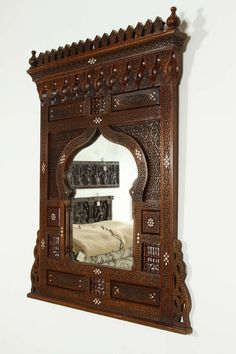 Large Middle Eastern Syrian Mirror Inlaid with Mother of Pearl at 1stdibs