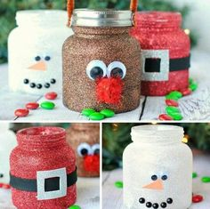 Craft Gifts For Father - Fantastic Present Strategies Diy Christmas Glitter Jars. They Are Made With Baby Food Jars These Are Adorable Just Love Them Kids Crafts, Baby Food Jar Crafts, Mason Jar Crafts, Christmas Crafts For Kids, Diy Christmas Gifts, Christmas Projects, Holiday Crafts, Christmas Decorations, July Crafts