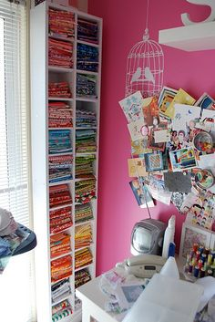 CD towers for fat quarter storage (chaletgirl's sewing room)