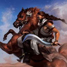 """Khal Drogo by Smirtouille.  """"What man could hope to rival Drogo, who had died with his hair uncut and rode now through the night lands, the stars as his khalasar?""""  – Daenerys's thoughts. #GoT #ASOIAF"""