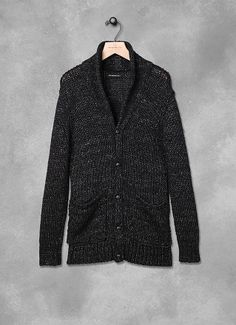 Shawl Collar Cardigan by John Varvatos  Who says menswear is just for men? Scored myself this essential number for lazy cool nights at home. Rolled up the sleeves and I have the perfect knit. I love menswear. So comfy :-)