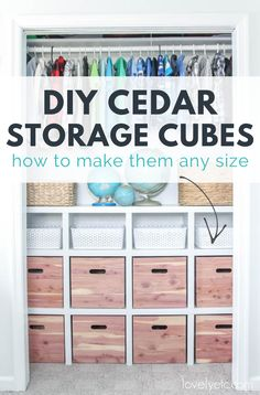 Making your own DIY cedar storage cubes - its a great way to get gorgeous matching storage cubes in the exact size you need for a fraction of the cost of buying them. Visit the link for all the details on making these from cedar wood planks. Cedar Planks, Cedar Wood, Wood Planks, Fabric Storage, Wood Storage, Diy Closet Shelves, Storage Cubes, Inside The Box, Toy Rooms