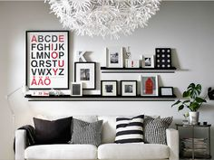 SheriChelle Ikea Ribba Picture Ledges Are Awesome 1 Long 2 Short IKEA Ledge Photo Display Shelf Variety Black Large Wall In Dining Room