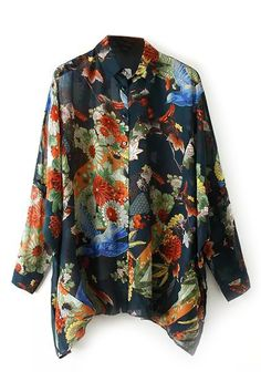 Floral Print Asymmetric Hem Shirt